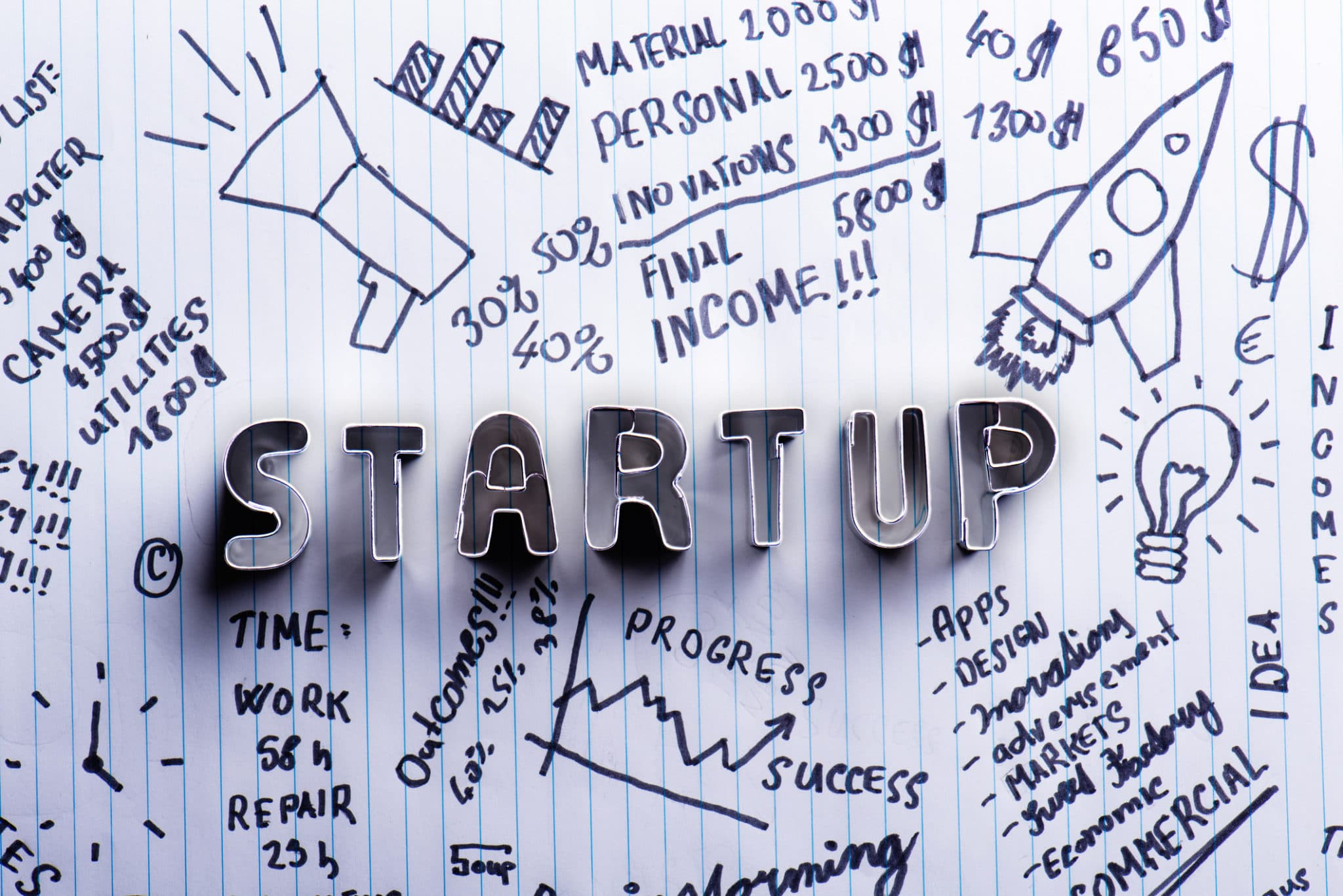 Start Up Sign On Paper Background With Handwritten Notes